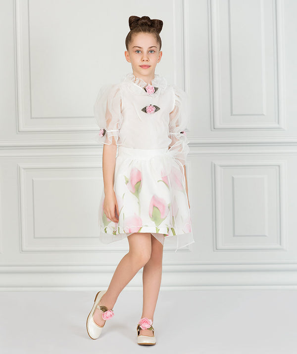 Girl in white chiffon  floral party outfit for kids
