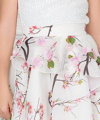White sequin blouse and chiffon skirt with flower appliques
