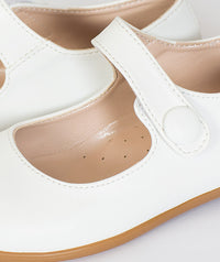 White party shoes with small heel for kids