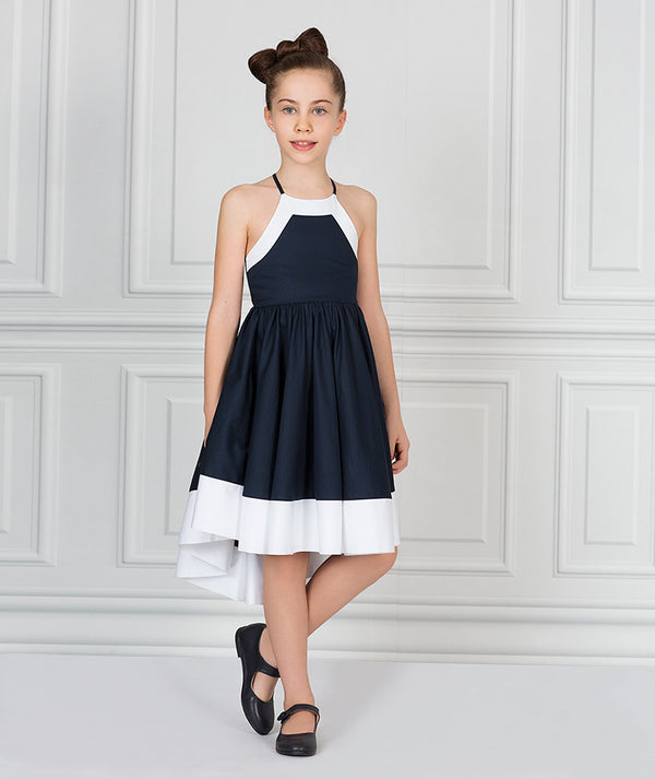 Girl in white and blue cotton dress for kids