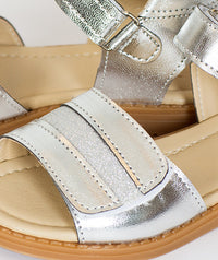 Silver comfortable sandals for kids
