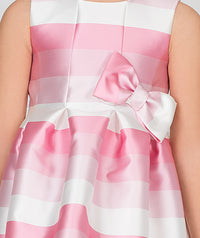 Pink and white striped party dress for kids.