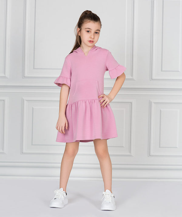 Girl in pink casual track dress for kids