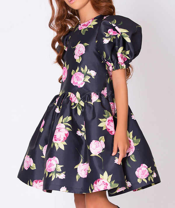 Navy blue dress with rose flower print and balloon shoulders for kids