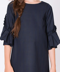 Navy blue dress for girls with ruffle sleeves
