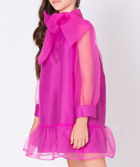 Long sleeve magenta sheer dress with big bow for kids
