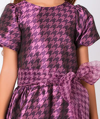 Patterned shiny purple dress for girls with bow