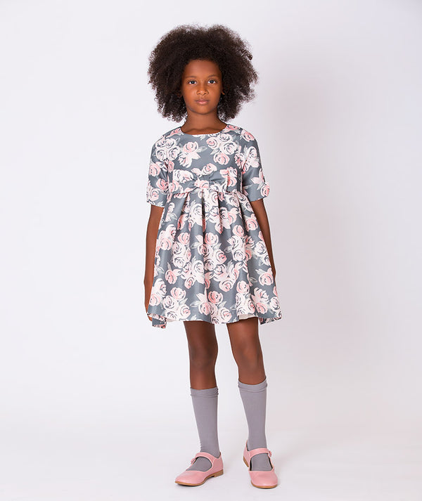 Girl in special occasion gray dress with pink rose print for kids