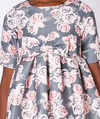 Special occasion gray dress with pink rose print for kids