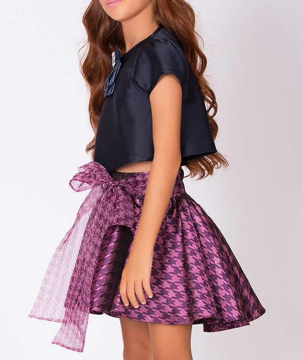 Chic navy blue blouse for kids and jacquard purple skirt with big bow for children