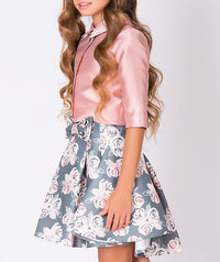 Shiny pink blouse, gray and pink flower print skirt for girls