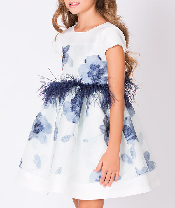 White party dress with blue feathers and blue flower print for kids