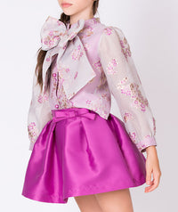 Sheer blouse with lilac flowers and big bow and pleated taffeta lilac skirt for kids