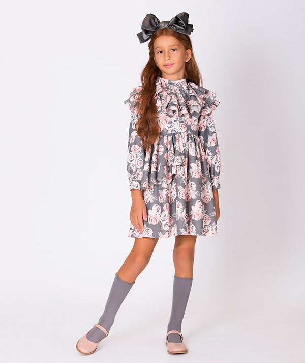Girl in comfortable special occasion flower print pink and gray dress for girls with long sleeves and ruffles