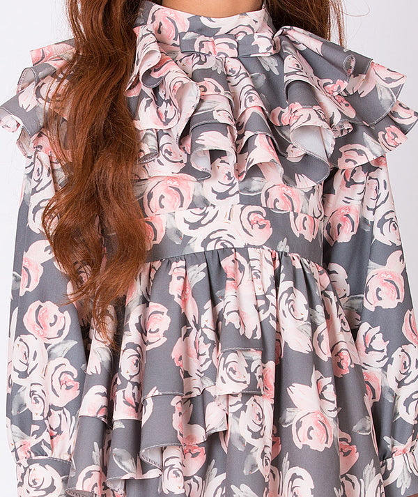 Comfortable special occasion flower print pink and gray dress for girls with long sleeves and ruffles