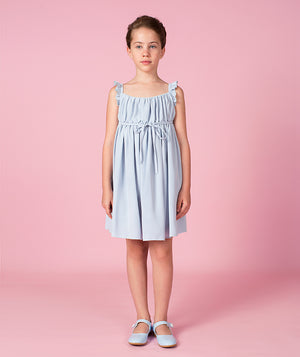 Girl in blue cotton dress for kids
