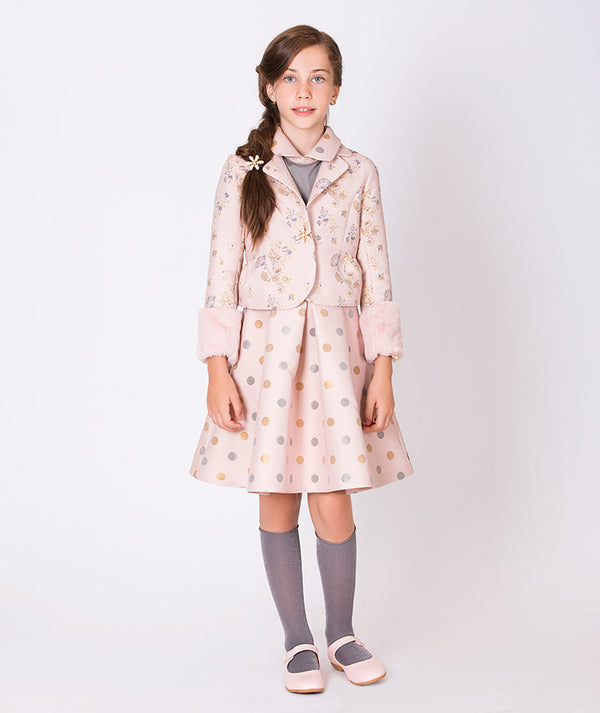 Girl in pink flower embroidered coat and polka dot pink skirt for girls