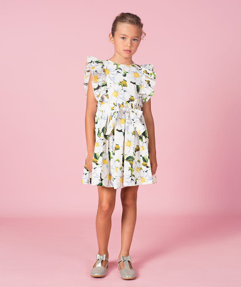 Daisy Print Cotton Summer Dress