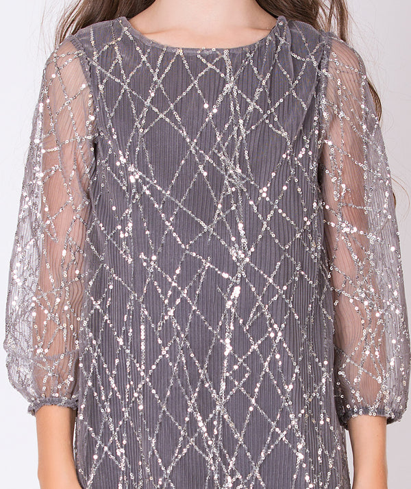 Gray sequined party dress for kids