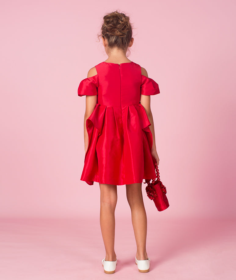 Red Rose Applique Dress