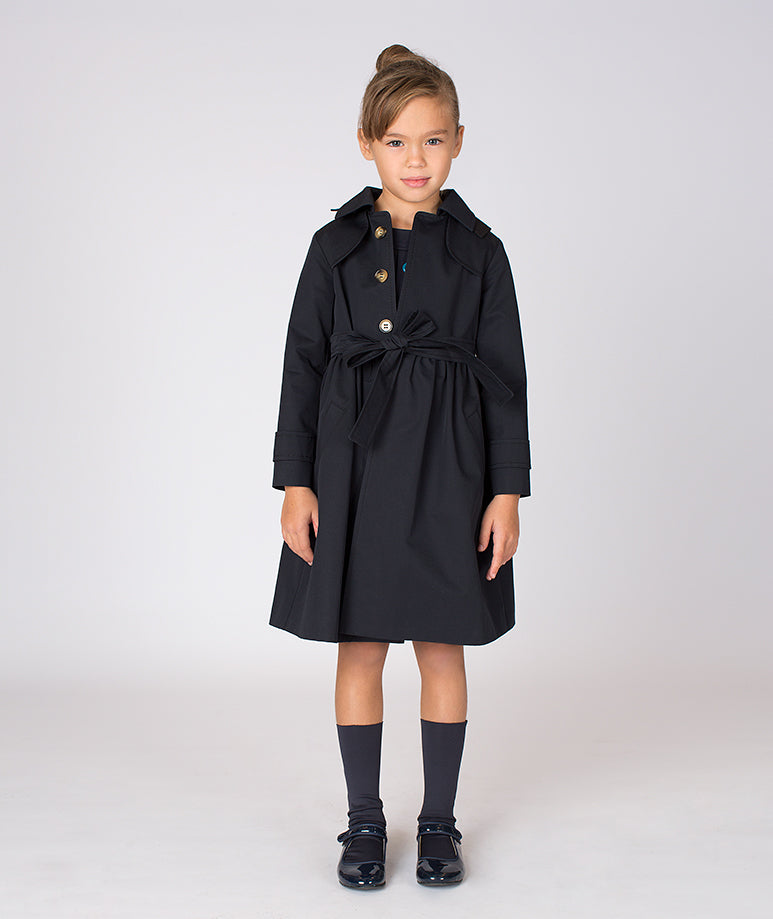 Girl in black trench coat for toddlers