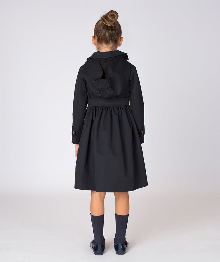 Back of girl in black trench coat for toddlers