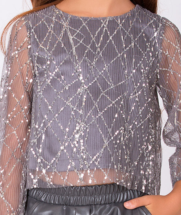 Gray sequin sheer party blouse for kids and shiny gray pants for kids