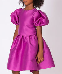 Magenta flared dress with balloon shoulders for kids