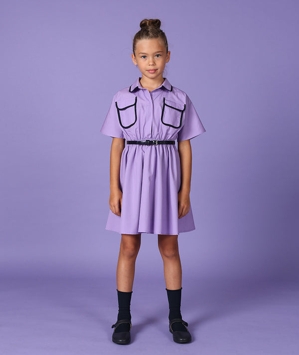 Girl in purple dress with collar and pockets by Mama Luma