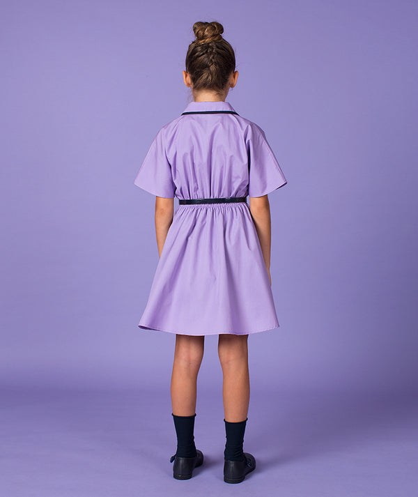 Girl in purple special occasion dress with pockets and collar for kids