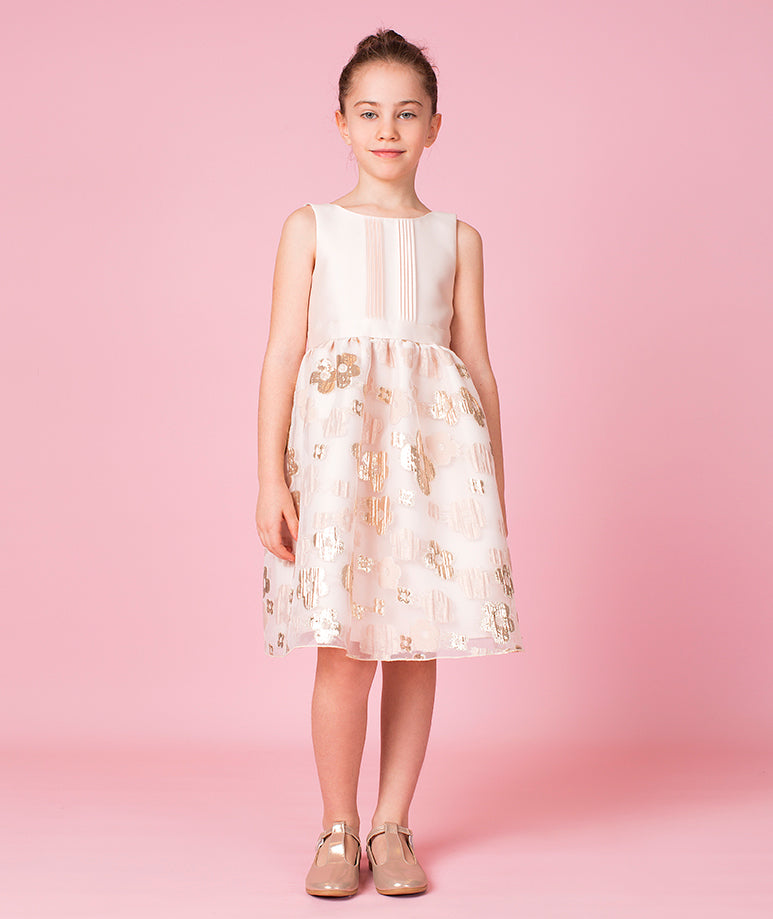 Powder Pink Flowers Dress with Lace Lining