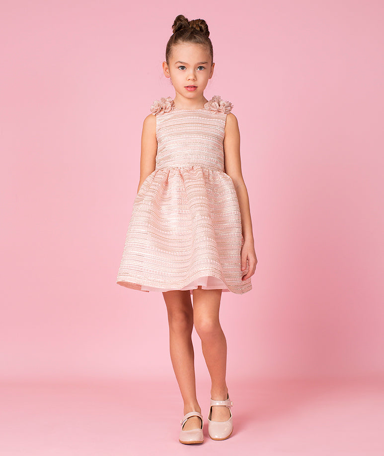 Shimmering Pink Party Dress with Bows on Shoulder