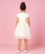 Silver Collared White Taffeta Party Dress with Sheer Skirt