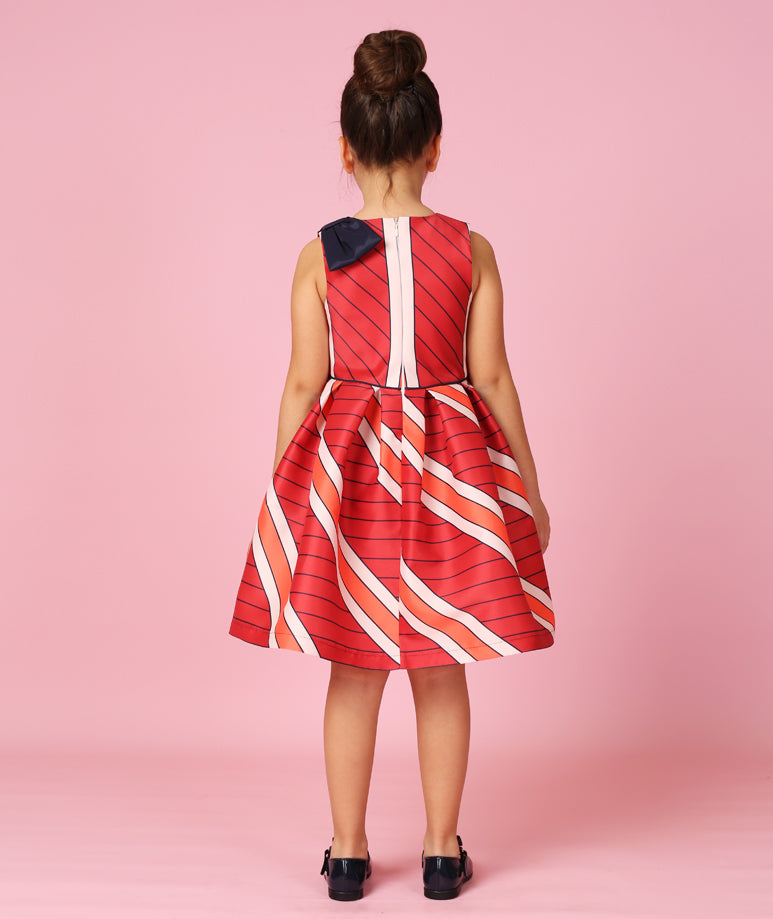 Coral Striped Dress with Broad White Stripes & Navy Blue Bow