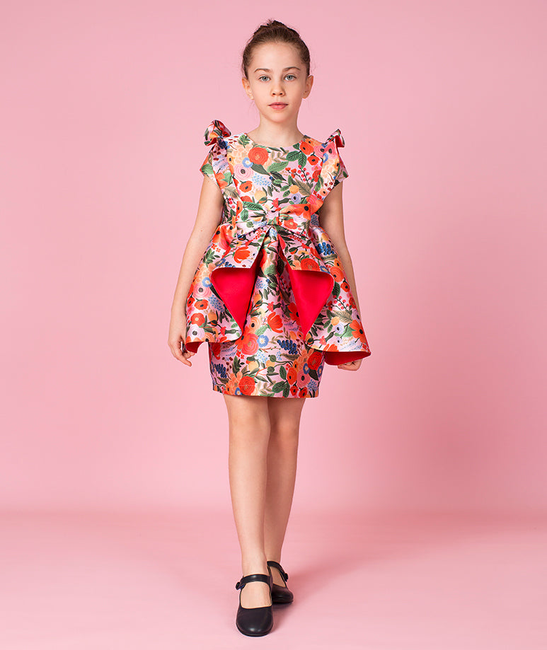 Exclusive Flower Print Taffeta Dress with Flare Over Skirt