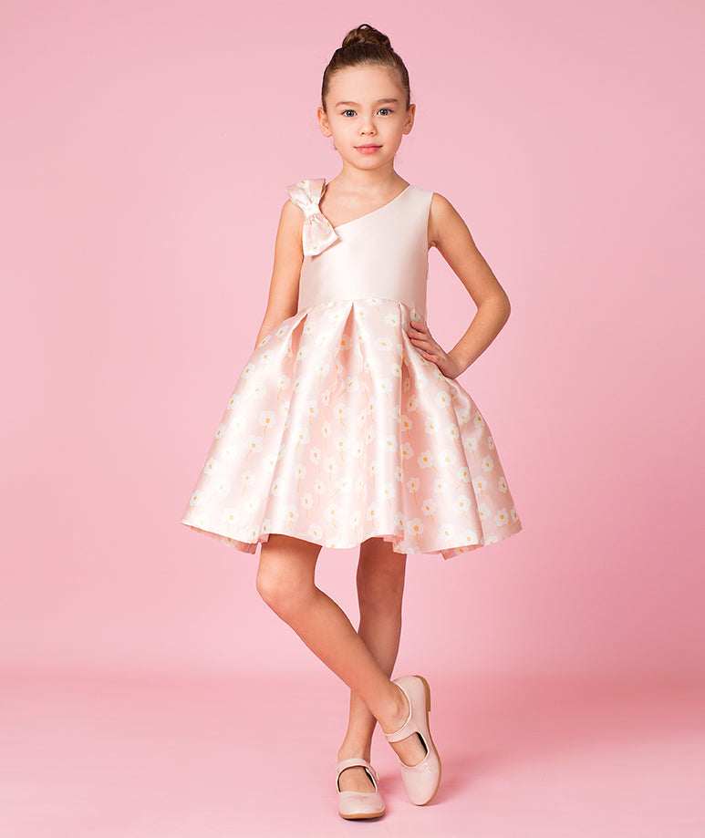 Powder Pink Daisy Prints Princess Dress with Bow on Shoulder
