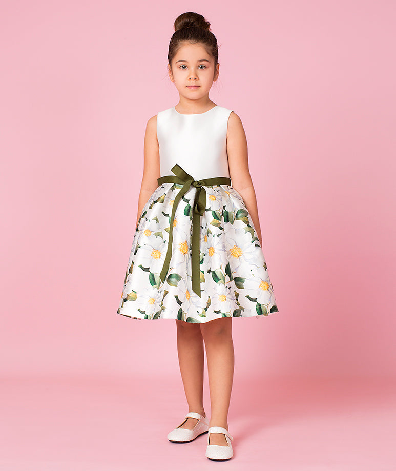 White Taffeta Dress with Emerald Ribbon Bow & Daisy Prints