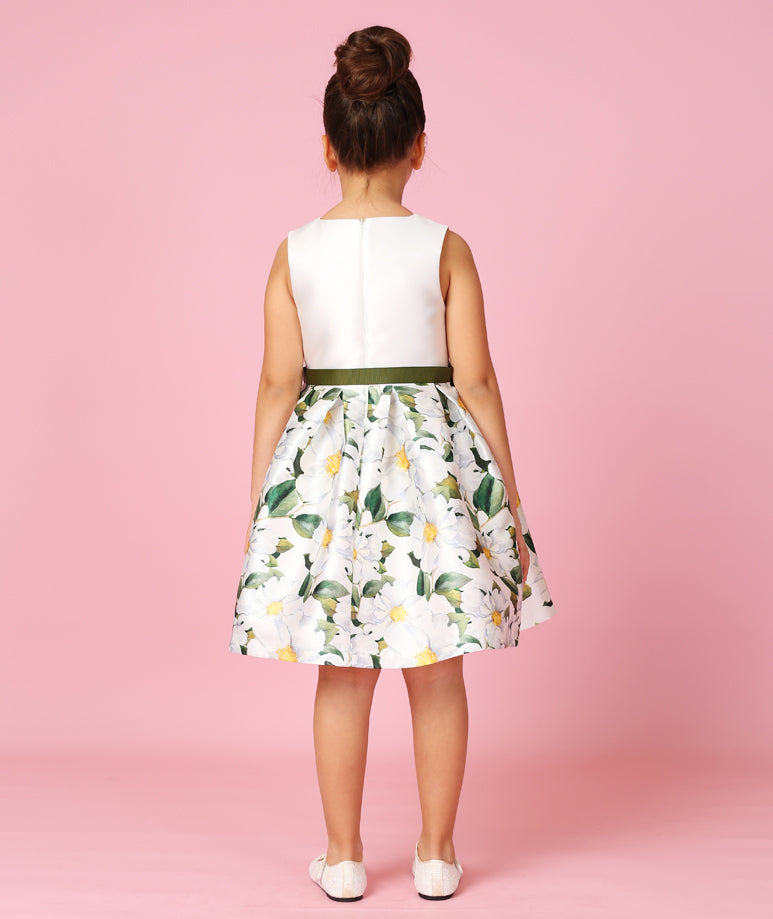 White Taffeta Dress with Emerald Ribbon Bow on Waist and Daisy Prints