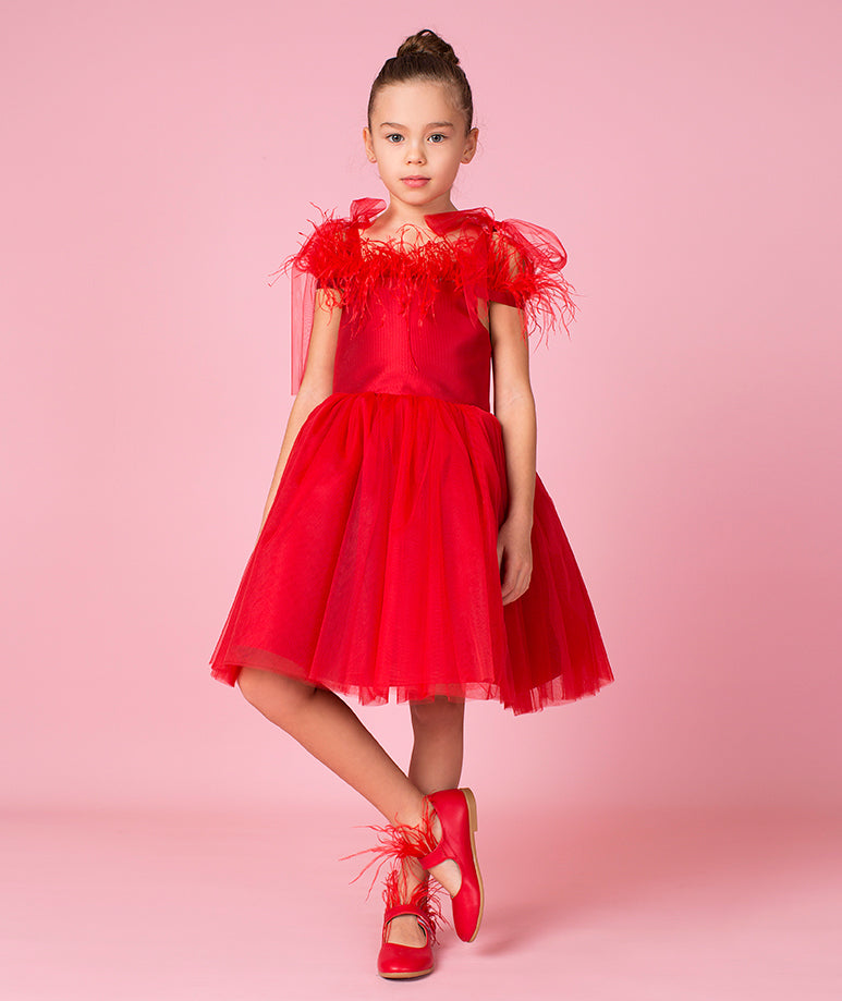 Red Feathers Aika Dress | Exclusive Design