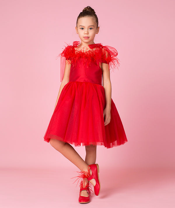 Kaitlynn Red Feathers Dress