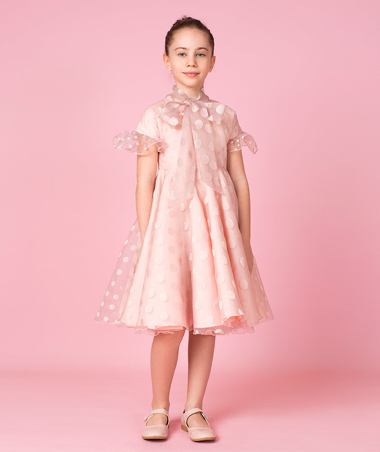 Pink Polka Dot Chiffon Dress with Long Ruffles & Bows