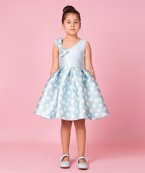 girl in powder blue princess dress with daisies