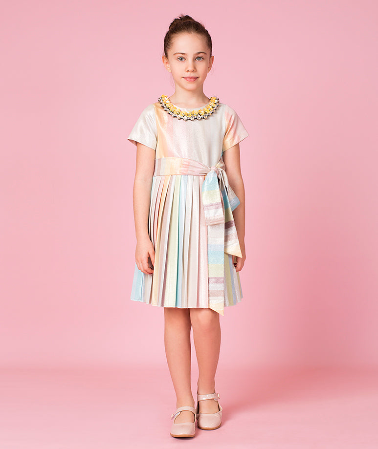 Pastel Rainbow Dress with Pleated Skirt and Neck Lining