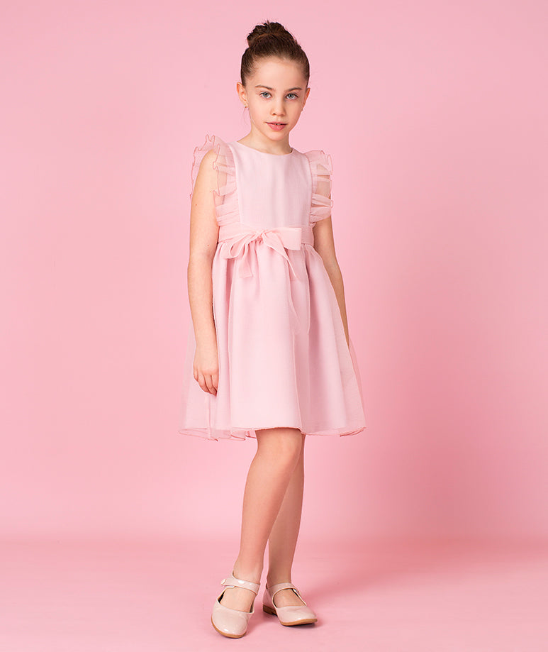 Sleeveless Chiffon Dress with Bow & Ruffle Sheer