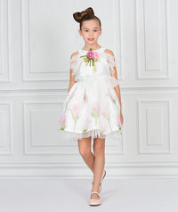 Girl in white floral chiffon party dress for kids