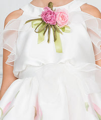 Girl in white floral chiffon party dress for kids with flower appliqué