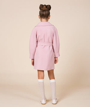 Back of girl in designer pink jacket for kids by Mama Luma