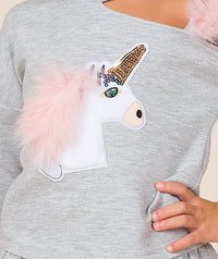 Gray blouse with unicorn embroidery for kids by Mama Luma