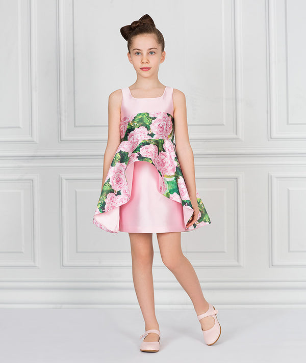 Girl in pink and Green party floral dress for kids
