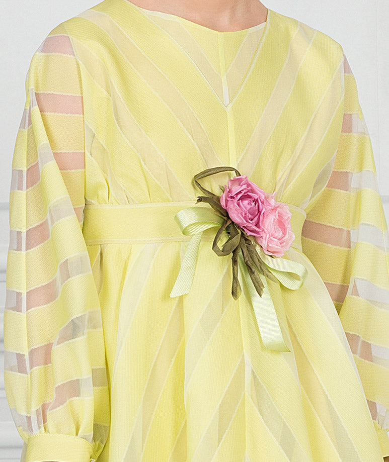 Product Image of Briny Flower Tea-Party Dress   Yellow #3